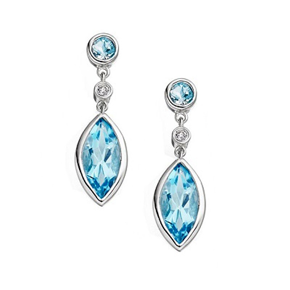 Katerina 9ct white gold marquise drop earrings, diamond and blue topaz stones
