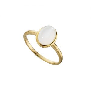 Amore 9ct yellow gold oval moonstone ring