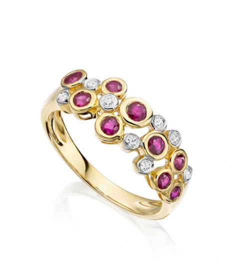 Rhapsody in Red 9ct yellow gold diamond and ruby bubble ring 6176YDR