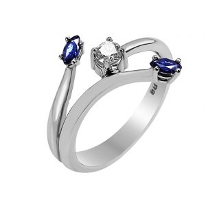 Janet Isherwood Jewellery 18ct white gold sapphire and diamond ring. JIR021