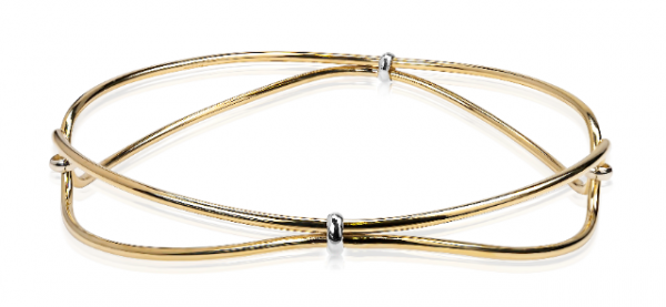Janet Isherwood Jewellery 9ct Yellow Gold Bangle with white gold detail JIB003